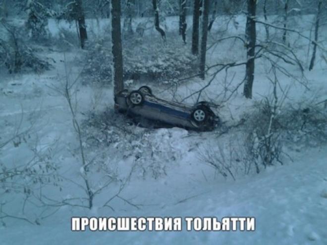 На трассе М-5 под Тольятти автоледи перевернулась на своем «Мицубиси Лансер»